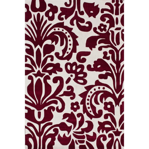 nuLOOM Handmade Pino Red Tribal Damask Rug (6' x 9')