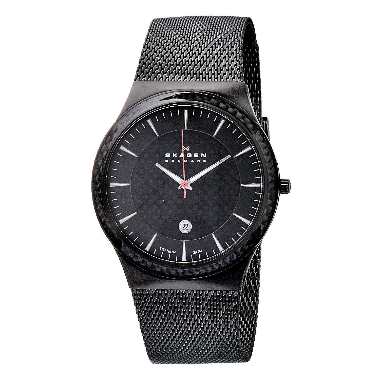 skagen men s black dial titanium watch shipping today skagen men s black dial titanium watch