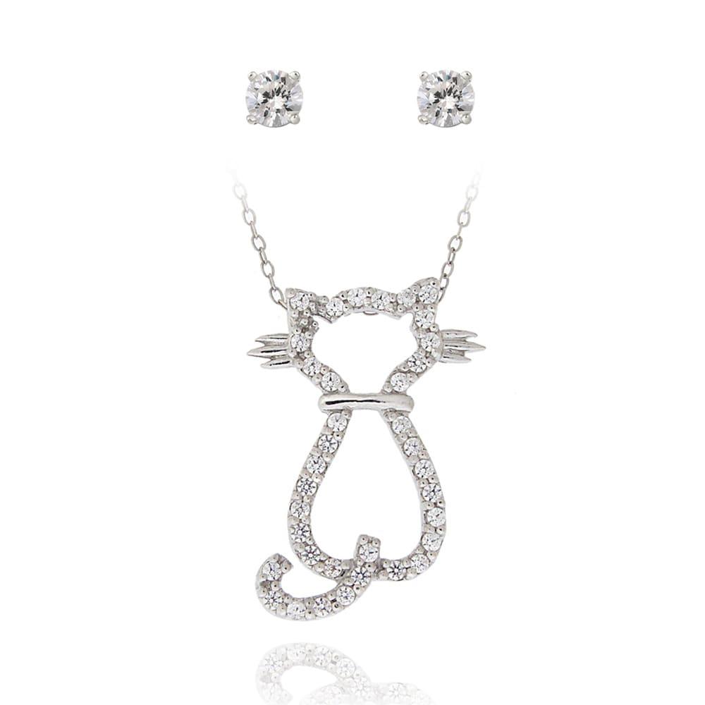 Icz Stonez Sterling Silver Cubic Zirconia Cat Jewelry Set (1 3/8ct TGW)