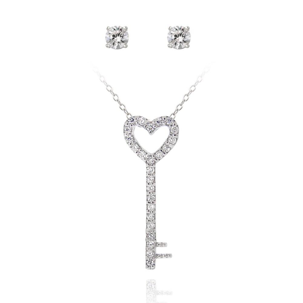 Icz Stonez Silver Cubic Zirconia Heart Key Jewelry Set (1 1/5ct TGW)