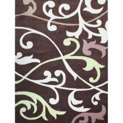 nuLOOM Handmade Pino Brown Scroll Vines Rug (6' x 9')
