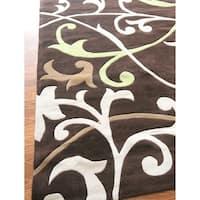 nuLOOM Handmade Pino Brown Scroll Vines Rug (6' x 9') - 6' x 9'