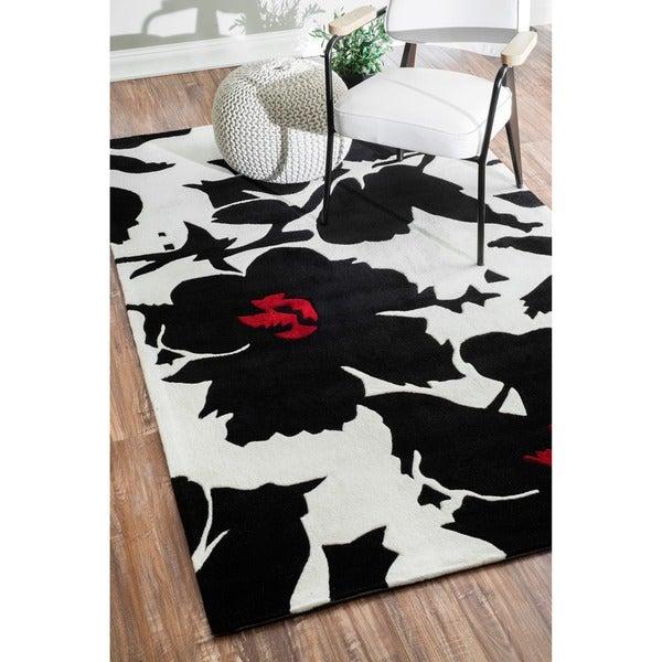 nuLOOM Handmade Pino Black/ White Floral Fantasy Rug (8'3 x 11')