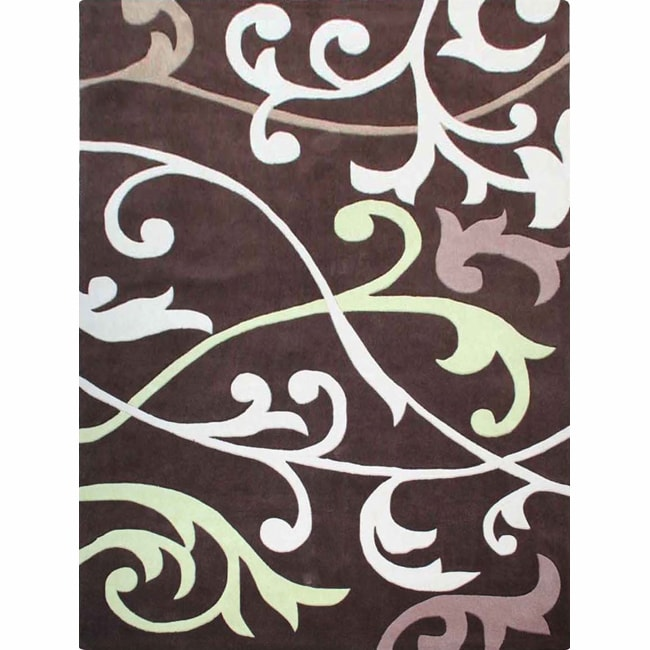 nuLOOM Handmade Pino Brown Scroll Vines Rug (8'3 x 11')