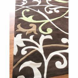 nuLOOM Handmade Pino Brown Scroll Vines Rug (8'3 x 11') - Thumbnail 1