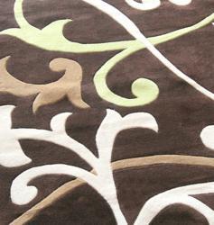 nuLOOM Handmade Pino Brown Scroll Vines Rug (8'3 x 11') - Thumbnail 2