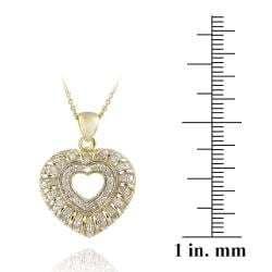 DB Designs 18k Yellow Gold over Silver 1/2ct TDW Diamond Heart Necklace (J, I3) - Thumbnail 2