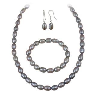 Glitzy Rocks Grey Freshwater Pearl Jewelry Set (10 x 8 Rice)