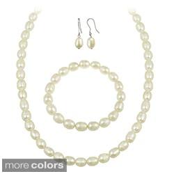 Glitzy Rocks White Freshwater Pearl Jewelry Set (10 x 8 Rice)