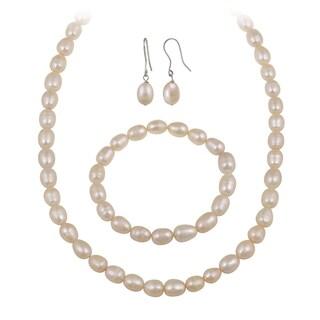 Glitzy Rocks White Freshwater Pearl Jewelry Set (10 x 8 Rice) (Option: Orange)