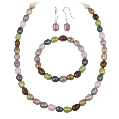 Glitzy Rocks Multi-colored Freshwater Pearl Jewelry Set (10 x 8 Rice)