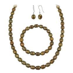 Glitzy Rocks Brown Freshwater Pearl Jewelry Set (10 x 8 Rice)