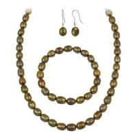 Glitzy Rocks Brown Freshwater Pearl Jewelry Set (10 x 8 Rice)