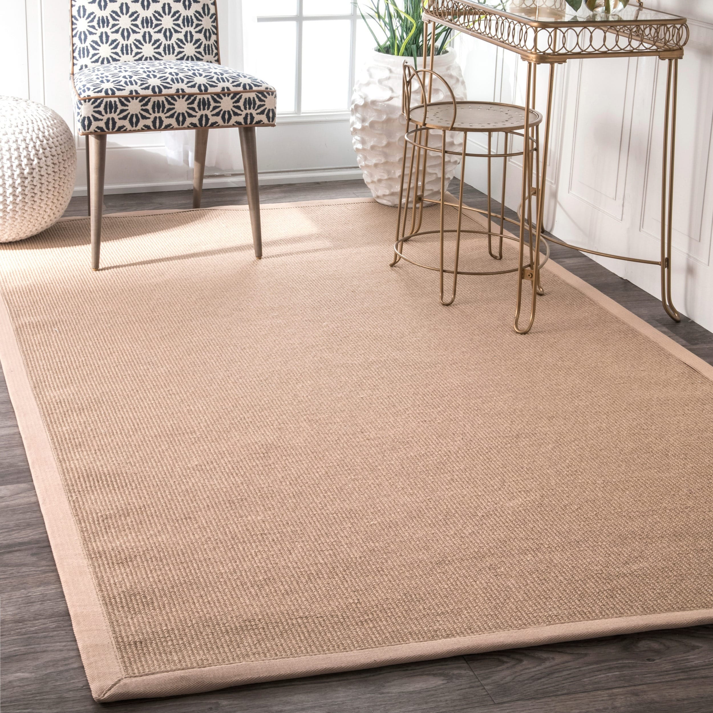 Havenside Home Lubec Handmade Eco Natural Fiber Cotton Border Jute Area Rug (9' x 12')