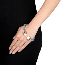 Miadora Stainless Steel Two-tone 5ct TFW White Onyx Cable Cuff