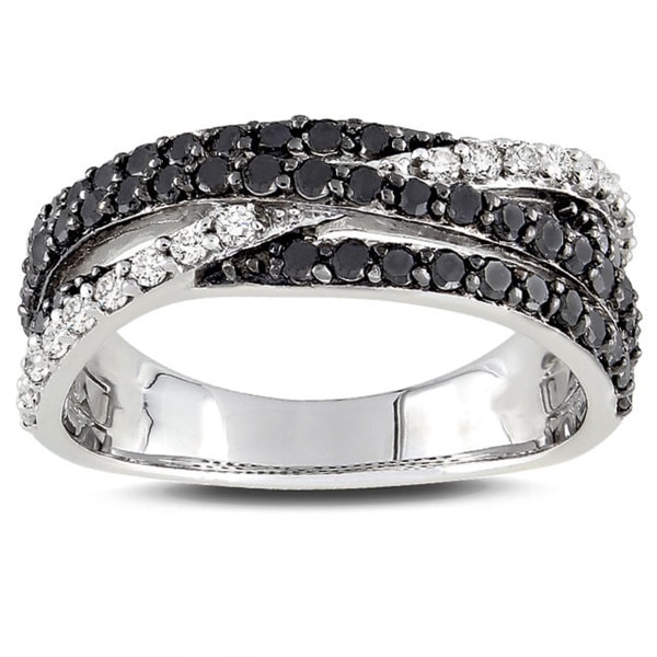 Miadora Sterling Silver 1ct TDW Black-and-white Prong-set Diamond Ring