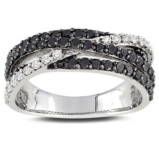 Miadora Sterling Silver 1ct TDW Black-and-white Prong-set Diamond Ring