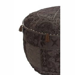 nuLOOM Handmade Casual Living Indian Round Brown Pouf