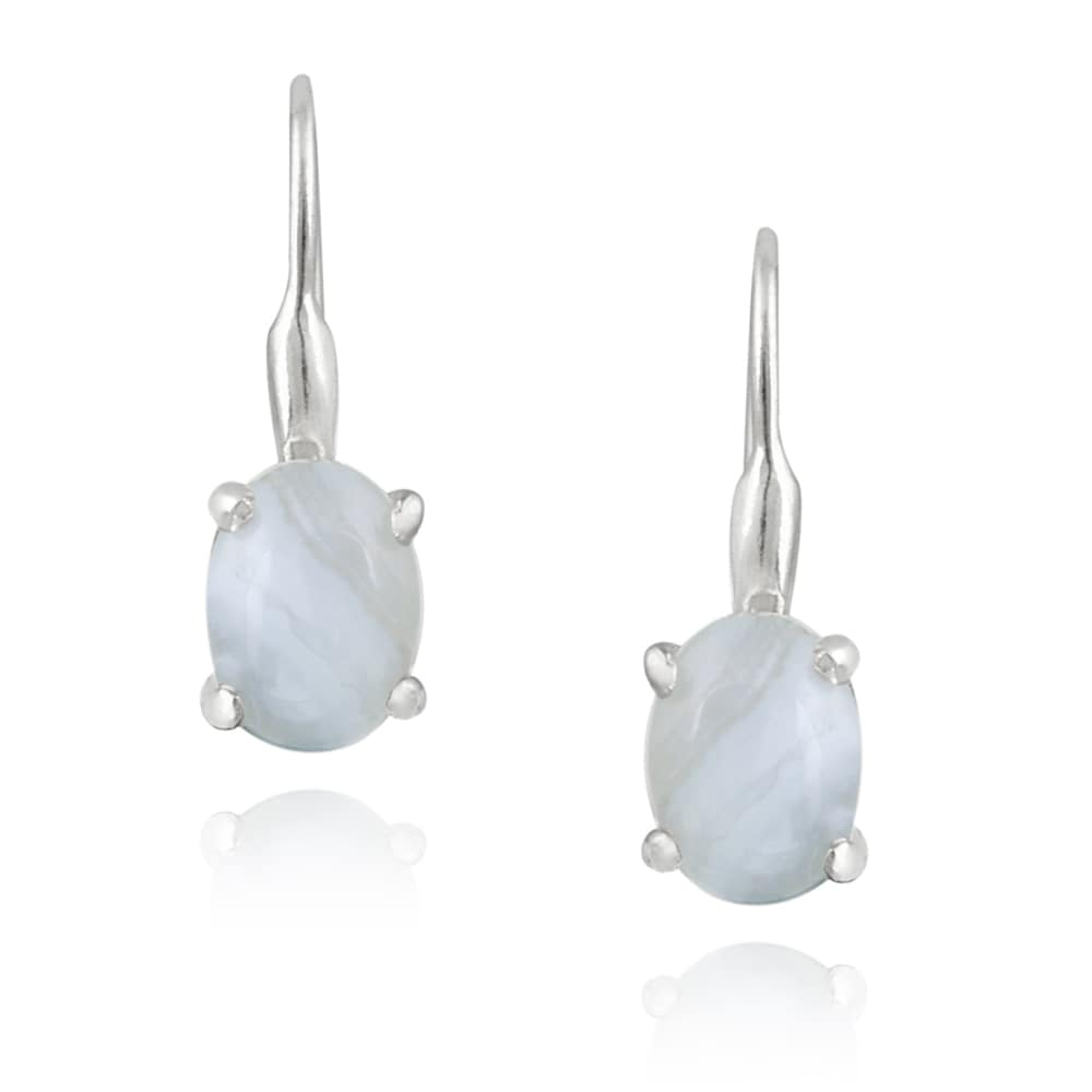 Glitzy Rocks Silver Lavender Lace Agate Earrings (2 1/2ct TGW)