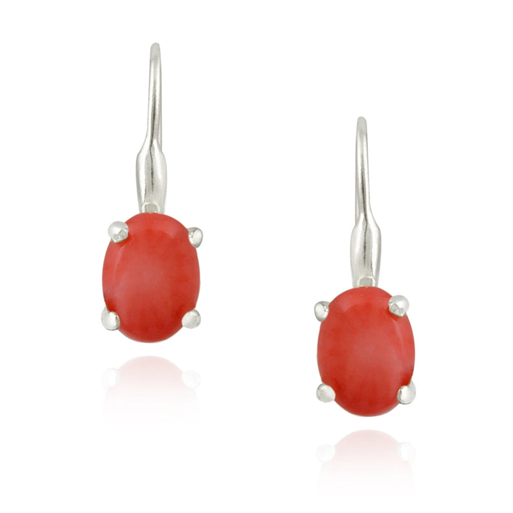 Glitzy Rocks Silver Reconstituded Coral Earrings (2 1/2ct TGW)