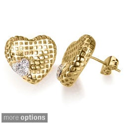 Collette Z Sterling Silver Gold-plated CZ Lace Designed Heart Shaped Earrings