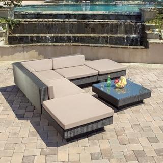 Santorini Outdoor Six Piece Black Wicker Sofa Set by Christopher Knight Home