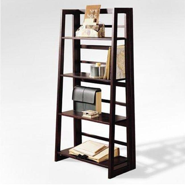 Espresso Finish 4-tier Ladder Bookcase Display Shelf
