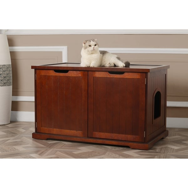 Shop Merry Products Walnut Cat Hidden Litter Box Furniture Bench