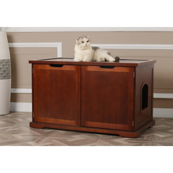 Charmant Merry Products Walnut Cat Hidden Litter Box Furniture Bench