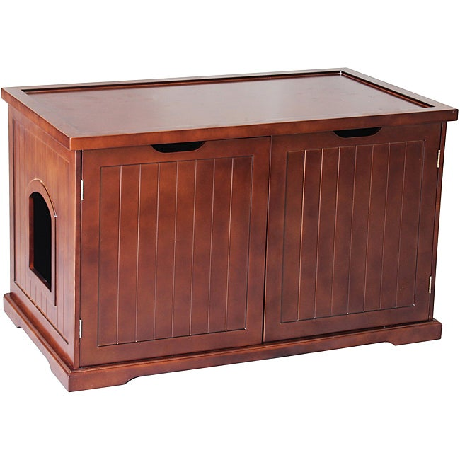 merry products walnut cat hidden litter box furniture. Black Bedroom Furniture Sets. Home Design Ideas
