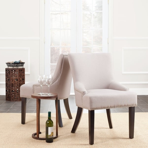 Safavieh En Vogue Dining Loire Linen Nailhead Espresso Dining Chairs (Set of 2)