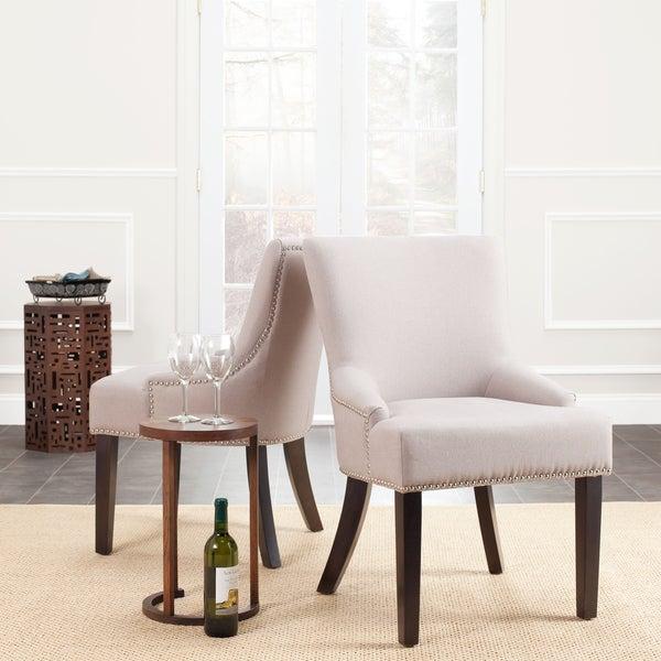 Safavieh En Vogue Dining Loire Taupe Linen Nailhead Espresso Side Chairs (Set of 2)
