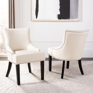 Safavieh Loire Leather Nailhead Dining Chairs (Set of 2)