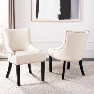 Safavieh Loire Leather Nailhead Dining Chairs (Set of 2) (Nailheads - Traditional/French Country - N/A - Side Chairs - Ivory)