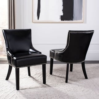 Safavieh Loire Leather Nailhead Dining Chairs (Set of 2) (Nailheads - Traditional/French Country - Espresso Finish - Side Chairs - Black)