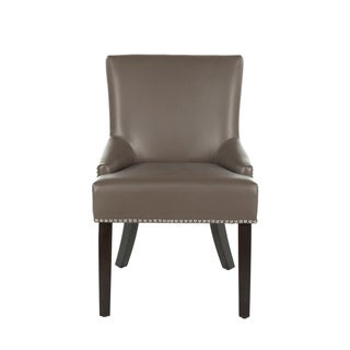 Safavieh Loire Leather Nailhead Dining Chairs (Set of 2) (N/A - Casual - Espresso Finish - Dining Chairs - Beige)