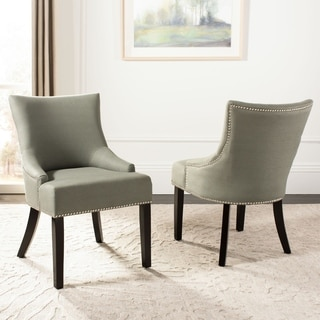 Safavieh En Vogue Dining Loire Grey Linen Nailhead Dining Chairs (Set of 2)