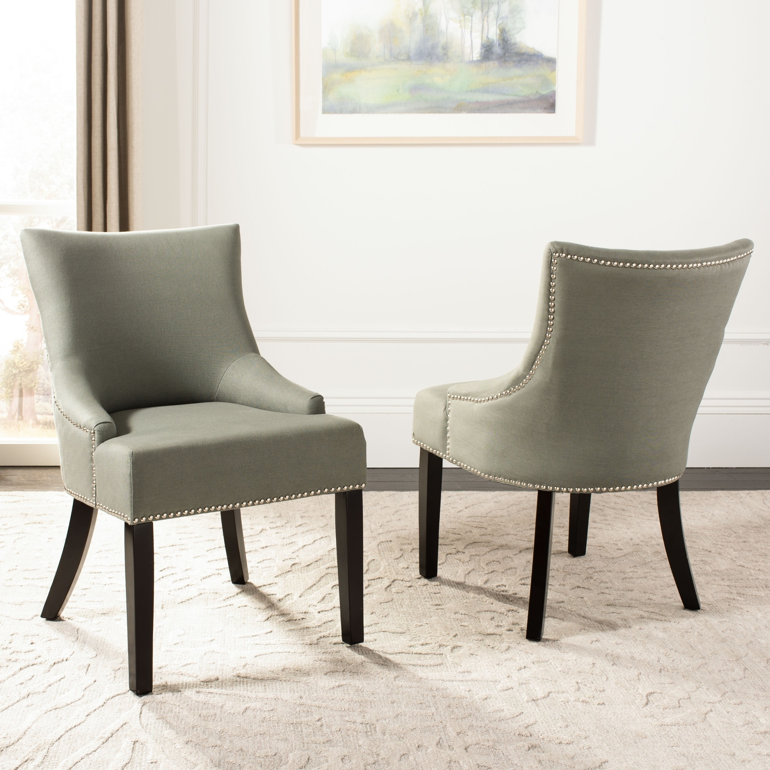 Strange Safavieh En Vogue Dining Loire Grey Linen Nailhead Dining Chairs Set Of 2 Bralicious Painted Fabric Chair Ideas Braliciousco