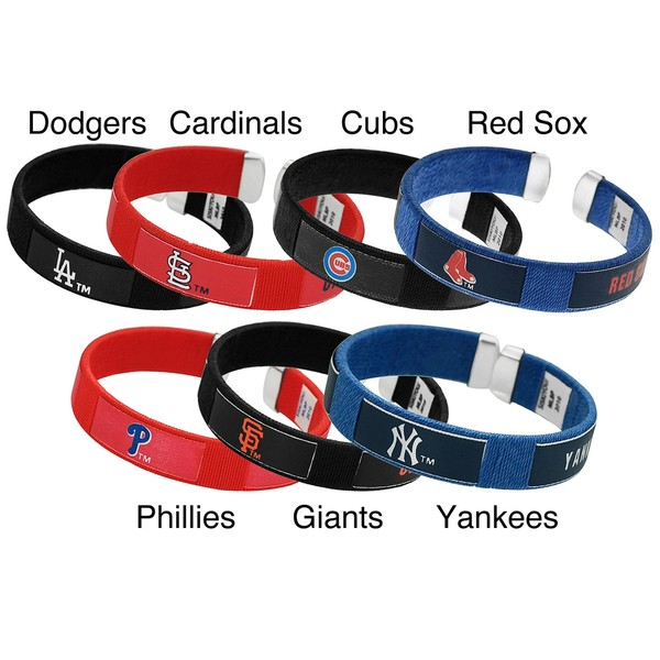 Silvertone Nylon Major League Baseball Team Cuff Bracelet