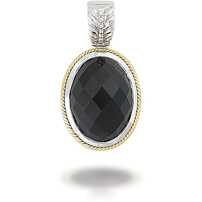 18k Gold and Sterling Silver Black Agate Pendant