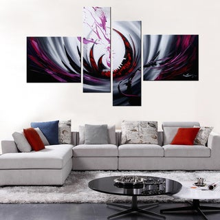 Hand-painted 'Time River'4-piece Gallery-wrapped Canvas Art Set