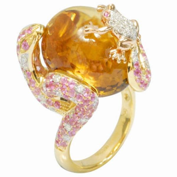 De Buman 18k Gold Citrine, Ruby and 1/2ct TDW Diamond Ring (G-H, VS1)