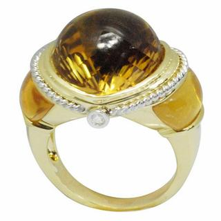 De Buman 18k Yellow Gold Citrine and Diamond Accent Ring (Size 7)