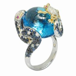 De Buman 18k Gold Blue Topaz, Sapphire and 1/3ct TDW Diamond Ring (G-H, VS1)