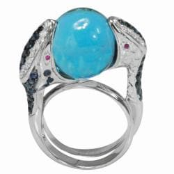 De Buman 18k Gold Swiss Blue Topaz, Sapphire and 1/3ct TDW Diamond Ring (G-H, VS1)