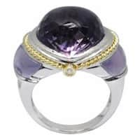 De Buman 18k White Gold Amethyst and Diamond Accent Ring (G-H, VS1)