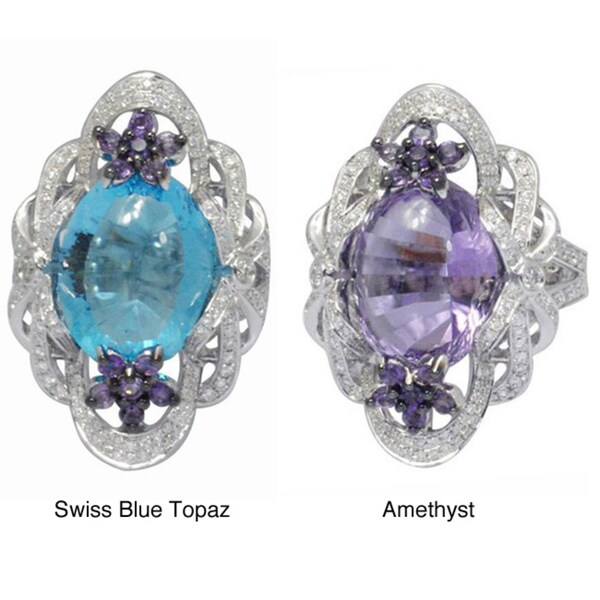 De Buman 18k Gold Amethyst/ Swiss Blue Topaz and 1ct TDW Diamond Ring (G-H, VS1)