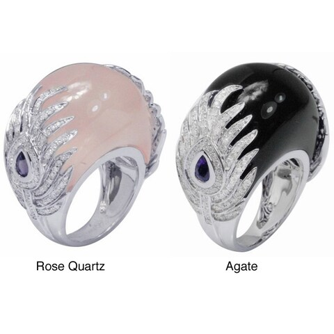 De Buman 18k Gold Rose Quartz/ Agate and 1 1/6ct TDW Diamond Ring (G-H, VS1)