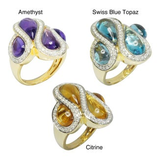 De Buman 18k Gold Amethyst, Swiss Blue Topaz or Citrine Gemstone and 5/8ct TDW Diamond Ring (G-H, VS1) (Option: 1)
