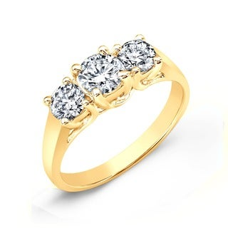 14k Gold Round 1 3/4ct TDW 3-Stone Diamond Engagement Ring by Auriya